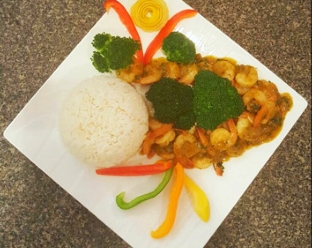 portrait of caribbean food with rice